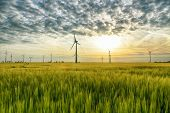 Renewable Energies - Power Generation With Wind Turbines In A Wind Farm poster