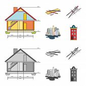 Drawing Accessories, Metropolis, House Model. Architecture Set Collection Icons In Cartoon, Monochro poster