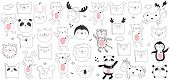 Vector Cartoon Collection Of Stickers With Cute Doodle Animals And Motivation Lettering Phrase. Perf poster