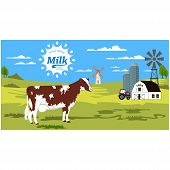 Rural Landscape With Cow And Splash. Summer Rural Landscape With Cow And Farm. poster