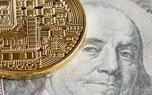 Bitcoin Cryptocurrency Is Modern Of Exchange Digital Payment Money,gold Bitcoins Electronic Circuit  poster