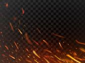 Close-up Hot Fiery Sparkles And Flame Particles Isolated Spark. Inferno Red Yellow Hell Grill Burnin poster