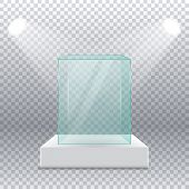 Empty Transparent Glass Box On Pedestal With Spotlights On The Sides On A Transparent Background. Re poster