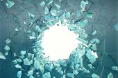 3d Illustration Wall Of Ice With A Hole In The Center Of Shatters Into Small Pieces. Place For Your  poster
