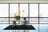 Modern Penthouse Office With Minimum Furniture, Windows Floor-to-ceiling And Cityview. 3d Rendering poster