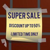 Super Sale Inscription, Design Template. Super Sale Banner. Vector Illustration poster