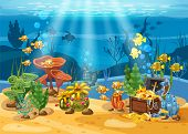 Underwater Treasure, Chest At The Bottom Of The Ocean, Gold, Jewelry On The Seabed. Underwater Lands poster