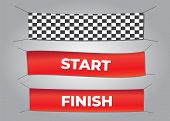 Start And Finish Textile Banners Vector Set. Flag Sport Race, Competition Finishing. Start And Finis poster