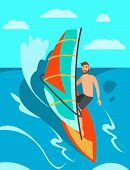 Man Riding Windsurf On Sea. Surfing On Sunny Day. Surf Rental. Windsurf Rental. Water Sports On Vaca poster