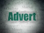 Advertising Concept: Painted Green Text Advert On Digital Data Paper Background With   Tag Cloud poster