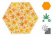 Filled Hexagon Composition Of Weed Leaves In Variable Sizes And Color Variations. Vector Flat Grass  poster
