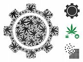 Gear Collage Of Cannabis Leaves In Variable Sizes And Color Tints. Vector Flat Cannabis Items Are Gr poster