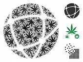Network Mosaic Of Weed Leaves In Variable Sizes And Color Tinges. Vector Flat Weed Objects Are Unite poster