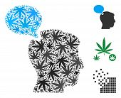 Person Opinion Composition Of Weed Leaves In Various Sizes And Color Variations. Vector Flat Weed Ic poster