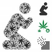 Praying Person Collage Of Hemp Leaves In Variable Sizes And Color Hues. Vector Flat Hemp Symbols Are poster