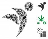 Winged Man Mosaic Of Weed Leaves In Various Sizes And Color Shades. Vector Flat Weed Icons Are Compo poster