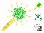Wizard Tool Collage Of Weed Leaves In Variable Sizes And Color Variations. Vector Flat Ganja Leaves  poster