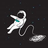 Galaxy Pulls The Spaceman Inwards. Space Vector Illustration poster