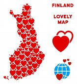 Romantic Finland Map Mosaic Of Red Hearts. We Like Finland Map Concept. Abstract Vector Territorial  poster