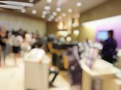 Blurred Images Abstract Background Of People Waiting Bank Teller Cashier Counter Service On Seat  In poster