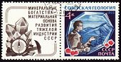 Geologist With Hammer On Post Stamp