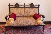 Ancient Khans Or Kings Room Interior With Old Sofa. Ancient Eastern Interior Design. poster