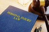 Personal Injury Law On A Desk And Gavel. poster