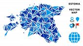 Estonia Map Collage Of Blue Triangle Items In Various Sizes And Shapes. Vector Polygons Are Combined poster
