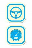 stock photo of meter stick  - Wheel and Speedometer Icons - JPG