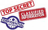 Three Rubber Stamps Top Secret, Confidential And Classified Information poster