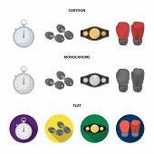 Boxing, Sport, Stopwatch, Watch .boxing Set Collection Icons In Cartoon, Flat, Monochrome Style Vect poster