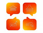 Mailbox, Video Monitoring And Garage Icons. Shower Linear Sign. Orange Speech Bubbles With Icons Set poster