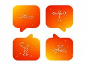 Swimming, Hockey And Kayaking Icons. Weightlifting Linear Sign. Orange Speech Bubbles With Icons Set poster