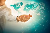 5G k Internet mobile wireless concept. Map from hands. Best Internet Concept of global business from poster