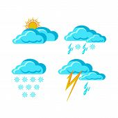 Weather Forecast Signs Symbols Synoptic Weather Forecast App, Snow With Rain, Weather Signs In Flat  poster
