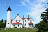 stock photo of iroquois  - Point Iroquois Lighthouse in Upper Michigan on Lake Superior - JPG