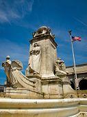 stock photo of amtrak  - Union Station at Washington DC with Christopher Columbus Statue - JPG