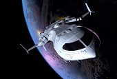 stock photo of fantasy world  - The space ship in outer space - JPG