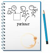 picture of parkour  - Illustration of a notebook with a sketch of a parkour training at the cover page on a white background - JPG