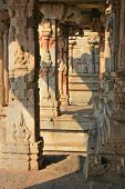 stock photo of vijayanagara  - Some beautiful pillar of the Krishna temple in Hampi a village on the place of the great ancient city Vijayanagara - JPG