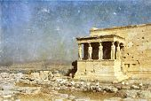 stock photo of akropolis  - Vintage photo of Parthenon in the Akropolis - JPG