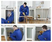 Collage of carpenter working in boiler suit