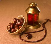 stock photo of middle eastern culture  - Ramadan lamp and dates still life - JPG