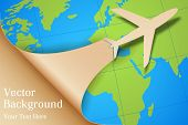 stock photo of aeroplane symbol  - illustration of airplane taking off on Earth map - JPG