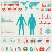stock photo of ecg chart  - Medical Infographic set - JPG