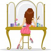 foto of senior prom  - Illustration showing the Back View of a Prom Queen in Front of a Bureau Mirror - JPG