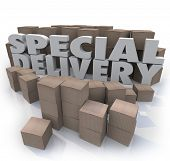 The words Special Delivery surrounded by cardboard boxes in a shipping and receiving warehouse or st