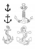 stock photo of nautical equipment  - Hand drawn  anchor set - JPG