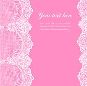 stock photo of lace  - white lace on pink background and place for your text - JPG