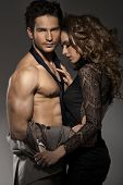 pic of flirt  - Portrait of young couple in love posing - JPG